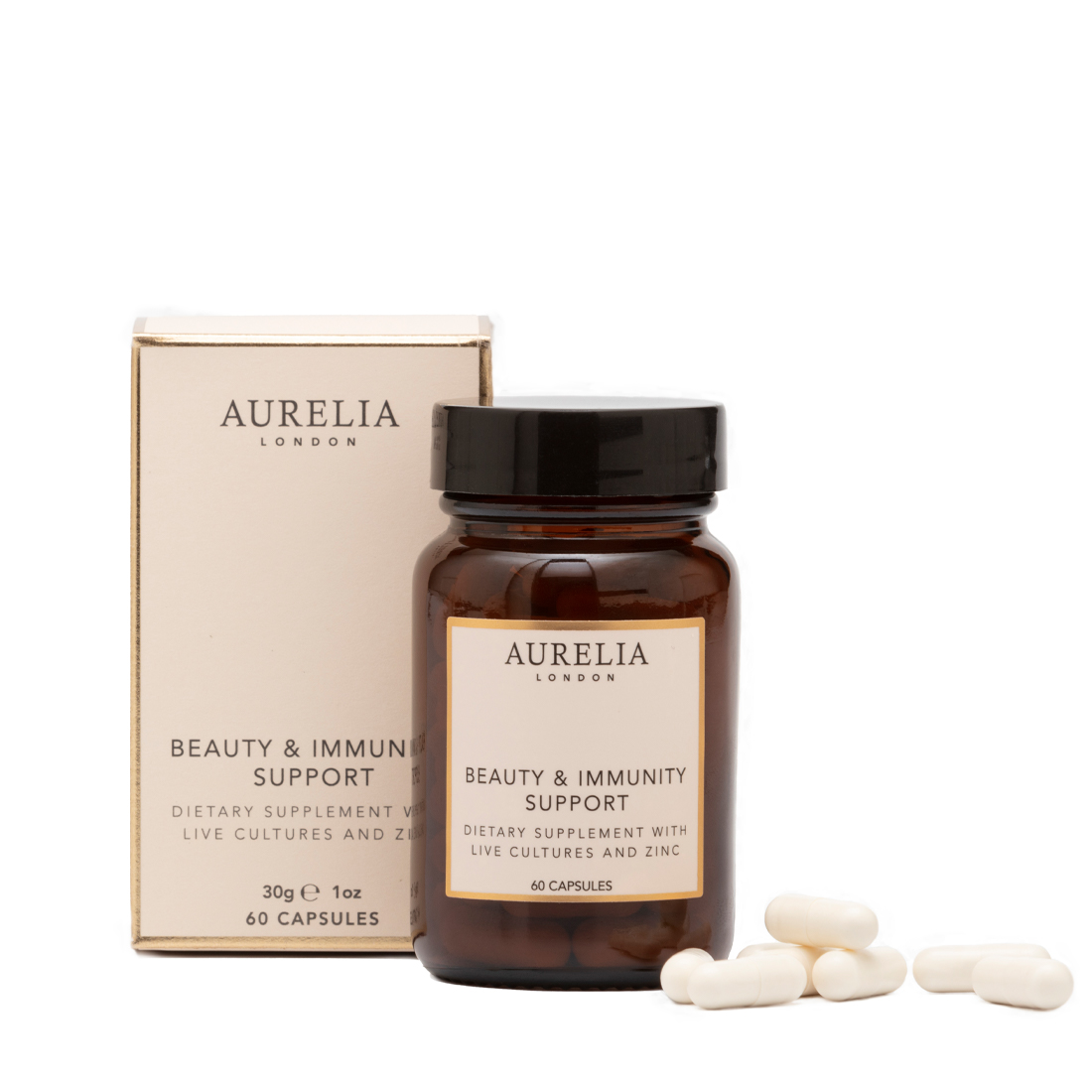 An image of Beauty & Immunity Support 60 capsules Aurelia London Probiotic Supplement with L...