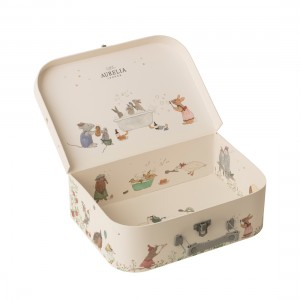 Woodland Friends Suitcase, open and showing decorative artwork