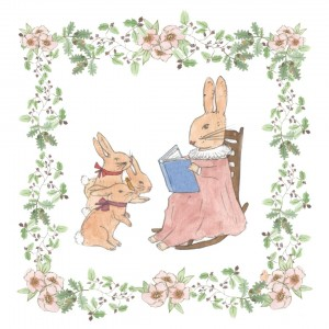 Sleep Time Tales book imagery of rabbit reading a book to 3 younger rabbits