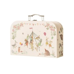Woodland Friends Suitcase, closed and stood up showing decorative artwork